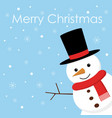 merry christmas christmas card with cute snowman vector image
