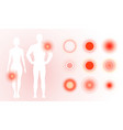 pain icon on human body red pain rings vector image