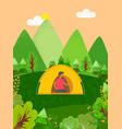 person sitting in tent camping male in forest vector image vector image