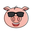 pig emoji with sunglasses kawaii vector image