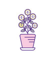 plant with coins leaves inside flowerpot vector image vector image