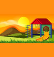 playground slide on sunset vector image vector image