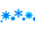 postcard with hanging blue origami snowflakes and vector image vector image