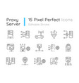 proxy server linear icons set vector image