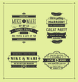 Retro wedding stamps vector image vector image