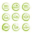 set green organic labels vegetarian products vector image vector image