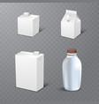 set of white blank realistic dairy packaging vector image