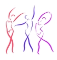 Sketched dancing girls set vector image vector image