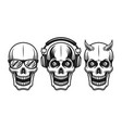 skulls with sunglasses headphones horned vector image