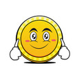 smile face coin cartoon character vector image vector image