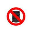 Stop oil barrel Fuel is forbidden Frozen barrel vector image