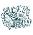 tea time lettering vector image vector image