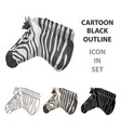 zebra icon in cartoon style isolated on white vector image vector image