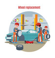 colorful tire service concept vector image