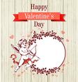 Vintage hand drawn Valentine card vector image
