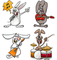 rabbits rock musicians set cartoon vector image