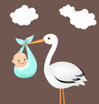 Stork With Baby Card vector image