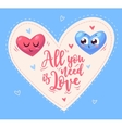 Two cute hearts in love vector image