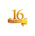 16 year ribbon anniversary vector image vector image
