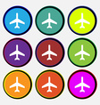 airplane icon sign Nine multi colored round vector image vector image