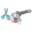barber pizza cutter knife cartoon for cutting vector image