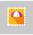 Beach Parasol flat stamp with long shadow vector image vector image