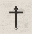 black cross with skull in grunge style vector image