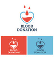 blood donation logo concept with heart vector image vector image