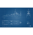 blueprint rescue ship top side and front view vector image vector image
