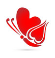 butterfly red heart logo symbol vector image vector image