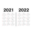 calendar 2021 and 2022 template template vector image vector image