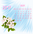 Calendar May 2017 and apple tree branch vector image