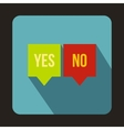 Check mark in speech bubbles icon flat style vector image