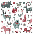 collection animals and winter elements vector image