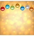 colorful baubles on golden background vector image
