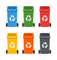 colorful dumpsters set garbage cans ecology and vector image
