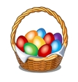 Colorful Easter eggs in straw basket vector image