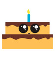 cute birthday cake on white background vector image vector image