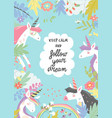 cute magic frame composed of unicorns and flowers vector image vector image