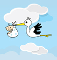 Cute stork carrying a happy baby vector image