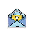 e-mail mesage with padlock insite to security vector image vector image