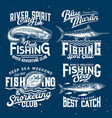 fishing club icons sport t-shirt print templates vector image vector image