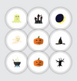flat icon halloween set of spirit pumpkin magic vector image vector image