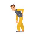 flat sick man suffering from backache vector image