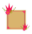 flower and crown on a card vector image vector image