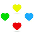 four colored hearts with shadow vector image vector image