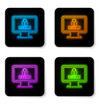 glowing neon monitor with password notification vector image vector image