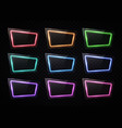 glowing rectangle neon signs with glass texture vector image vector image