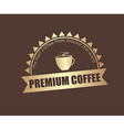 Gold Coffee logo with a ribbon for a cafe or shop vector image vector image