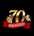 golden 70 years anniversary template with red vector image vector image